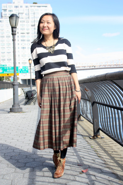 brown Jeffrey Campbell boots - white striped Urban Outfitters sweater