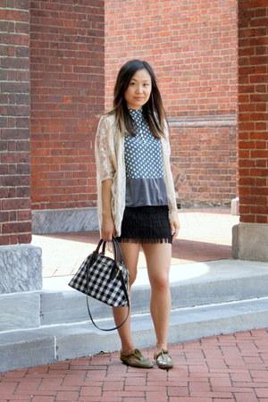 black mini skirt Zara skirt - white checkered Ochirly bag - blue velvet Zara top