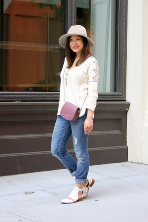 white house of harlow flats - blue ripped Express jeans - tan Anthropologie hat