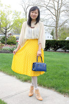yellow polka dots vintage skirt - navy boxy vintage bag