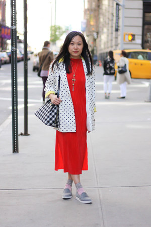 red pleated H&M Trend dress - white polka dot unknown brand blazer