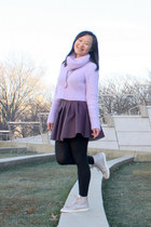 light purple cropped Banana Baby sweater - deep purple leather H&M skirt