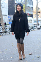 black sweater French Connection dress - light brown platform nice claup boots