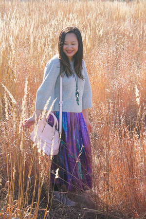 amethyst maxi skirt vintage skirt - heather gray knit COS sweater