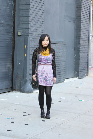 black lace-up boots vintage boots - mustard American Apparel dress