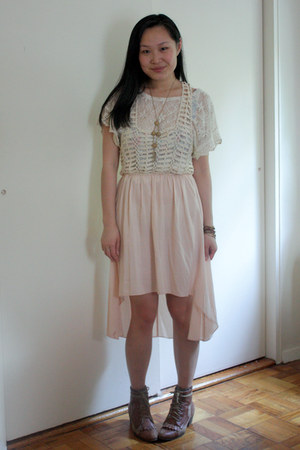 brown Jeffrey Campbell boots - light pink Millau dress - white threadsence shirt