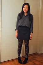 black asos boots - navy thrifted shirt - black lace American Apparel tights