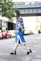 navy floral bomber Zara jacket - blue shift dress & other stories dress