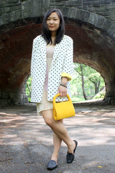 white polka dot vintage blazer - off white Urban Outfitters dress