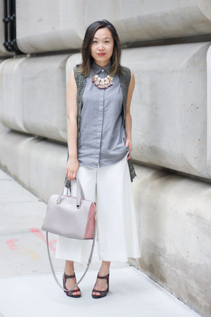 white culottes & other stories pants - heather gray everlane shirt