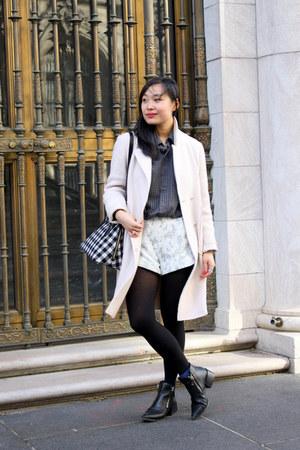 black Zara boots - light pink oversized Zara coat - navy menswear vintage shirt