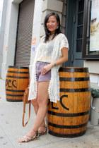 white lace vintage cardigan - brown asos bag