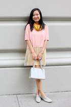bubble gum pink Nada shirt - mustard turtleneck American Apparel dress
