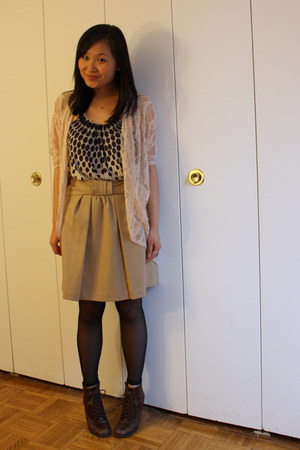 lace threadsence cardigan - seychelles boots - random from Hong Kong skirt