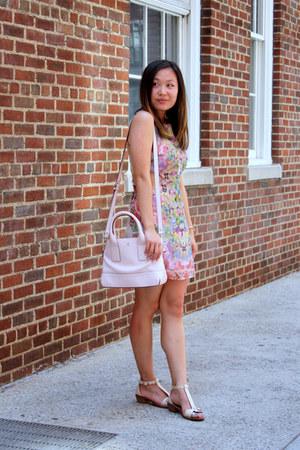light pink maddyk dress - light pink kate spade bag - beige madewell sandals