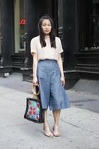 light pink silk vintage blouse - sky blue patchwork bag no brand bag