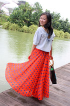 red polka dots no brand skirt - sky blue no brand bag