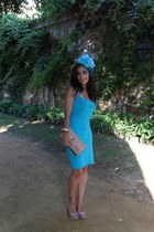 neutral Christian Louboutin bag - sky blue versace dress - sky blue Glamy scarf