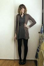 black cat Bumper flats - navy zig zag Forever 21 dress - black sweater tights