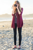 feather top - skinny Forever 21 jeans - cardigan - tribal American Eagle flats