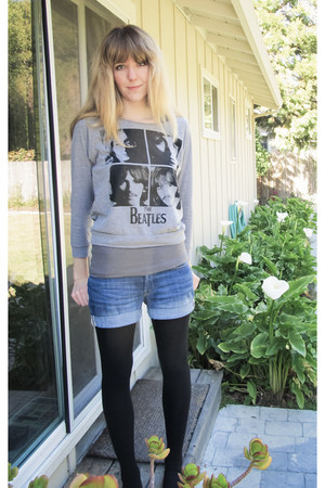 silver beatles top - black HUE tights - light blue H&M shorts - black flats
