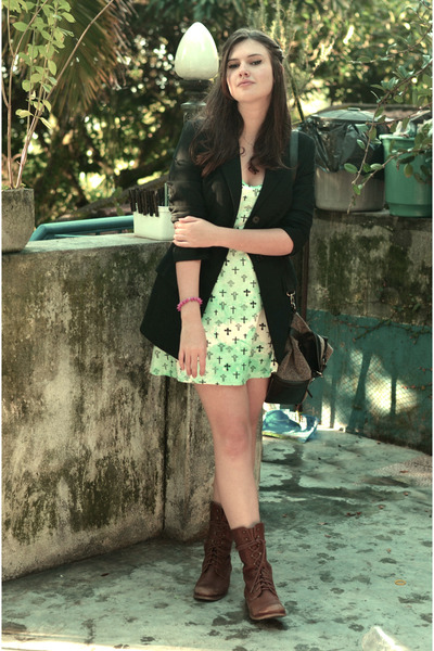 brown c&a boots - green made by me dress - black MNG blazer - dark brown c&a bag