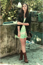 Brown-c-a-boots-green-made-by-me-dress-black-mng-blazer-dark-brown-c-a-bag