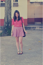 light pink c&a skirt - dark brown cantão bag - brown Salvatore Ferragamo flats