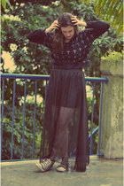 black DIY skirt - black sweater - black Converse sneakers