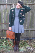 green thrifted cardigan - dark brown boots - heather gray dress - black leggings