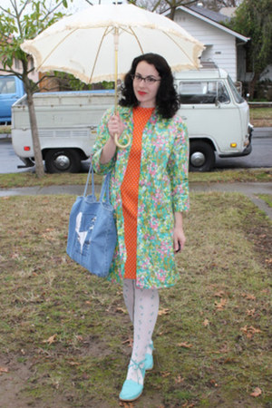 teal vintage jacket - carrot orange vintage dress