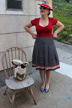 red vintage hat - red Forever 21 shirt - navy Forever 21 skirt