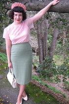 pink vintage blouse - green vintage suit