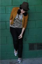 bronze American Apparel shirt - tawny vintage jacket - black Zara pants