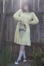 white Payless shoes - light yellow vintage dress - green purse