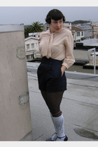 beige vintage blouse - blue Forever 21 shorts - white H&M socks - gray Forever 2