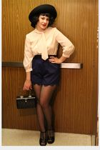 beige blouse - blue shorts - black shoes - gray blazer - black tights - black pu