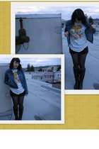 blue jacket - white shirt - black shorts - gray Forever 21 tights - Paolo boots
