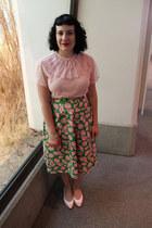 light pink vintage blouse - lime green vintage skirt - light pink vintage flats