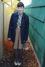 Navy-f21-coat-olive-green-vintage-shirt-light-brown-h-m-skirt