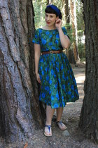 dark green vintage dress - navy Payless sandals - dark brown thrifted belt