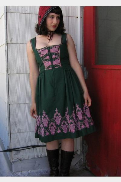 Green Vintage Dirndl Dresses, Red Gibbous Hats, Brown Aldo ...