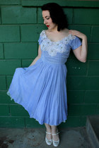 sky blue vintage dress - ivory Mia heels