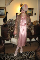 pink vintage dress - gold vintage sequin coat - pink vintage 1940s hat