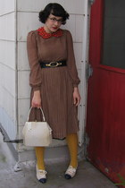 brown vintage dress - mustard tights - red Fashion Forestry accessories - white