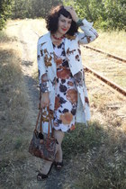 white vintage dress - camel vintage coat - brown vintage purse