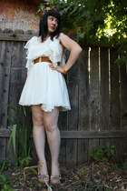 white Sugarlips Apparel dress - forest green vintage hat