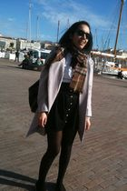 black Marc by Marc Jacobs skirt - brown Burberry scarf - silver H&M coat - white