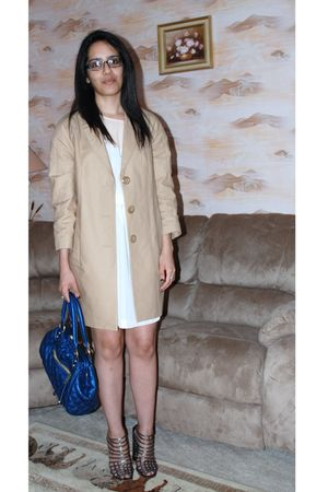 blue Marc Jacobs purse - gray YSL shoes - beige Burberry coat - pink H&M dress