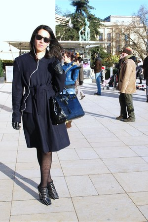 silver YSL sandals - navy Valentino coat - black Hermes bag - black H&M gloves